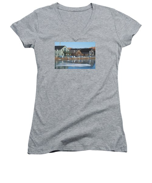 Remains Of The Old Fishing Village Women's V-Neck T-Shirt (Junior Cut) by Janice Adomeit
