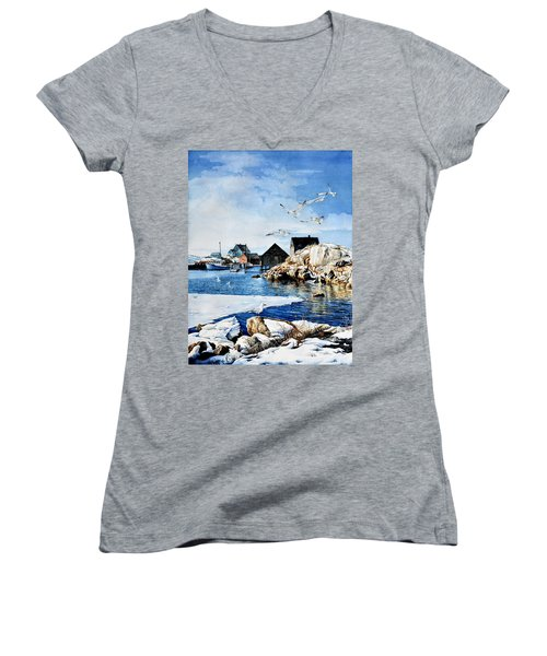 Women's V-Neck (Athletic Fit) featuring the painting Reason To Believe by Hanne Lore Koehler