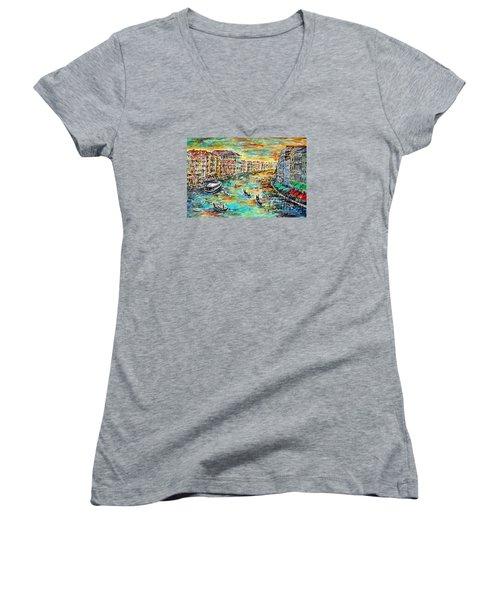 Recalling Venice Women's V-Neck T-Shirt (Junior Cut) by Alfred Motzer