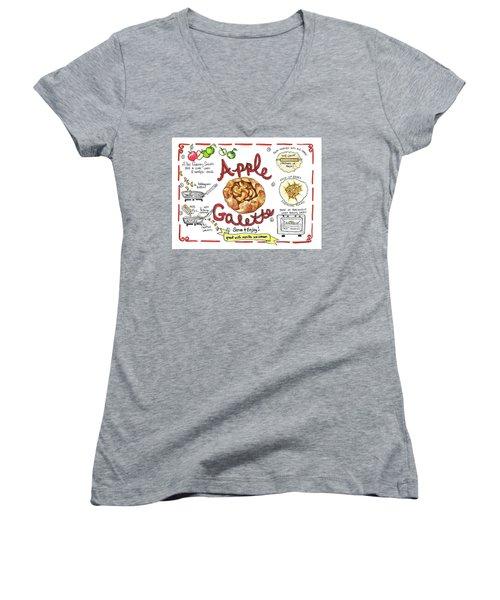 Recipe- Apple Galette Women's V-Neck T-Shirt