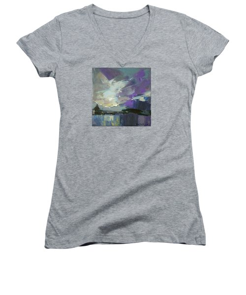 Women's V-Neck T-Shirt (Junior Cut) featuring the painting Recollection by Anastasija Kraineva