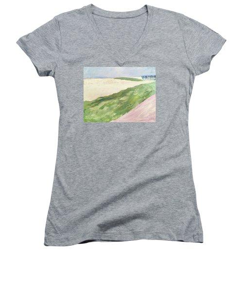 Recompense Women's V-Neck T-Shirt (Junior Cut) by Angela Annas