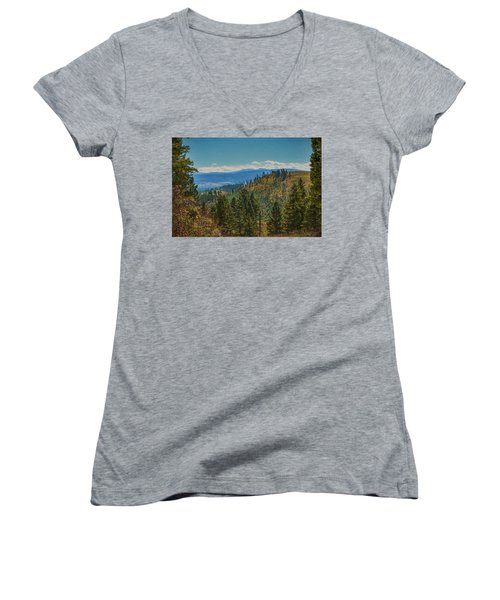 Recovery After Fire At Yellowstone Women's V-Neck T-Shirt (Junior Cut) by Penny Lisowski
