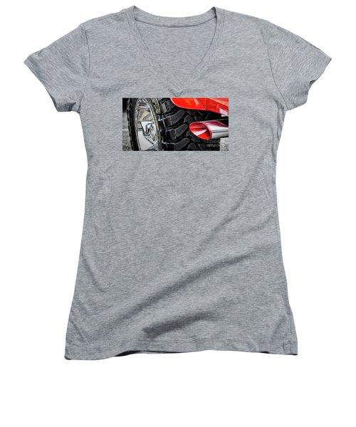 Women's V-Neck T-Shirt (Junior Cut) featuring the photograph Red 4x4 by Brad Allen Fine Art