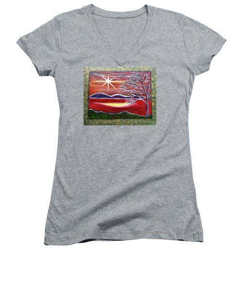 Red Abstract Landscape With Gold Embossed Sides Women's V-Neck T-Shirt