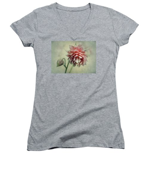 Red And Pink Columbine Women's V-Neck