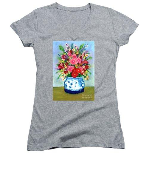 Red And Pink Rose Flower Garden Still Life Painting 615 Women's V-Neck T-Shirt