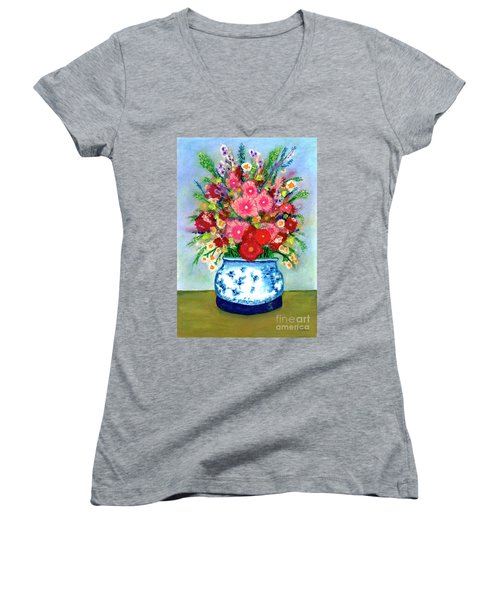 Red And Pink Rose Flower Garden Still Life Painting 615 Women's V-Neck (Athletic Fit)