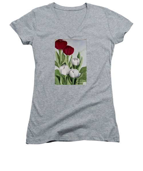 Red And White Tulips Women's V-Neck T-Shirt
