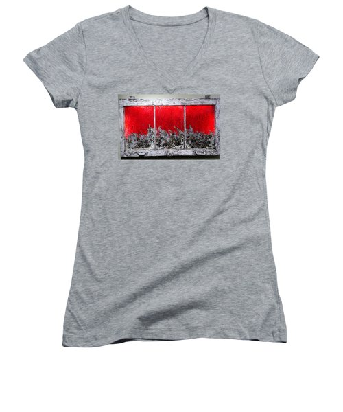 Red And White Window # 1 Women's V-Neck (Athletic Fit)
