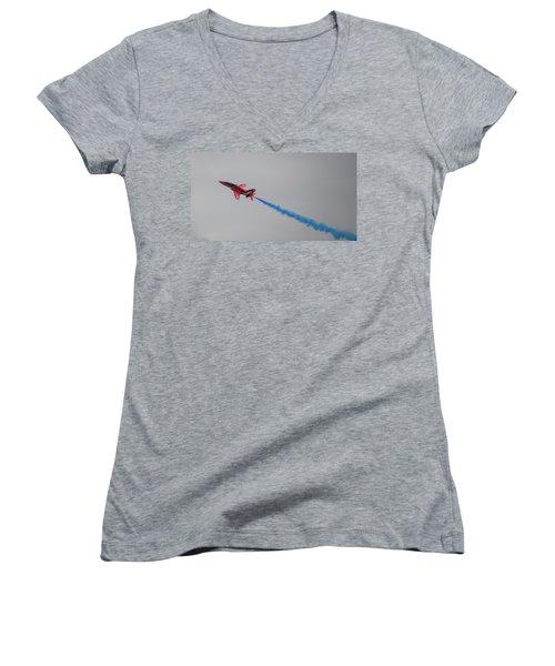 Red Arrow Blue Smoke - Teesside Airshow 2016 Women's V-Neck T-Shirt (Junior Cut) by Scott Lyons