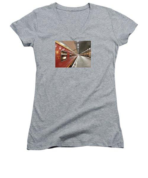 Red Arrow Express Women's V-Neck T-Shirt (Junior Cut) by Margaret Brooks