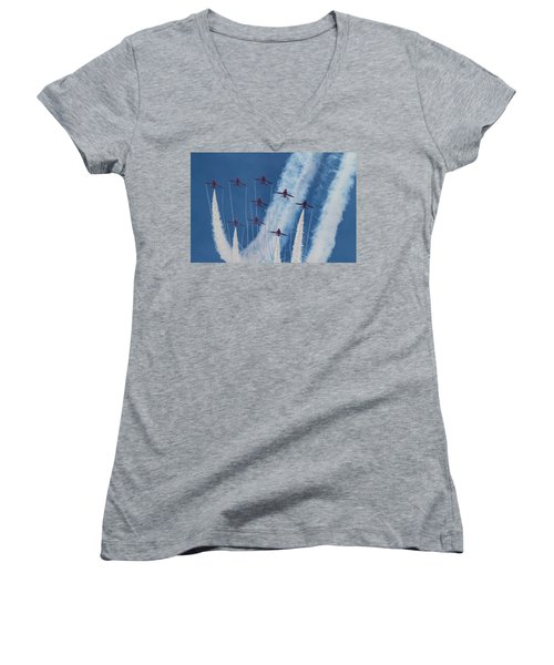 Red Arrows At Duxford Women's V-Neck T-Shirt