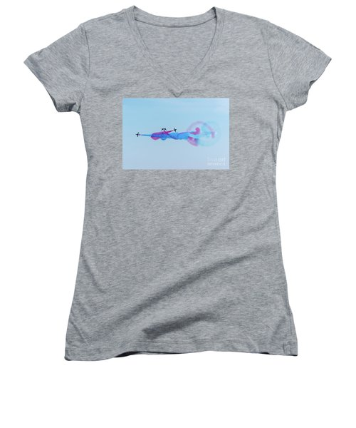Women's V-Neck T-Shirt featuring the photograph Red Arrows Break by Gary Eason