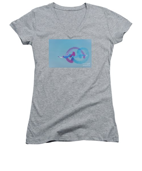 Women's V-Neck T-Shirt featuring the photograph Red Arrows Gypo Swirls by Gary Eason