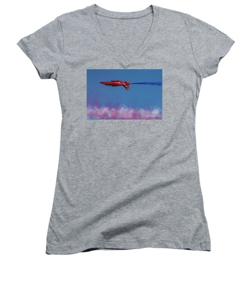 Women's V-Neck T-Shirt featuring the photograph Red Arrows Hawk Inverted  by Gary Eason