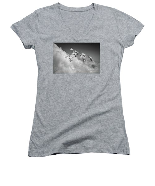 Women's V-Neck T-Shirt featuring the photograph Red Arrows Sky High Bw Version by Gary Eason