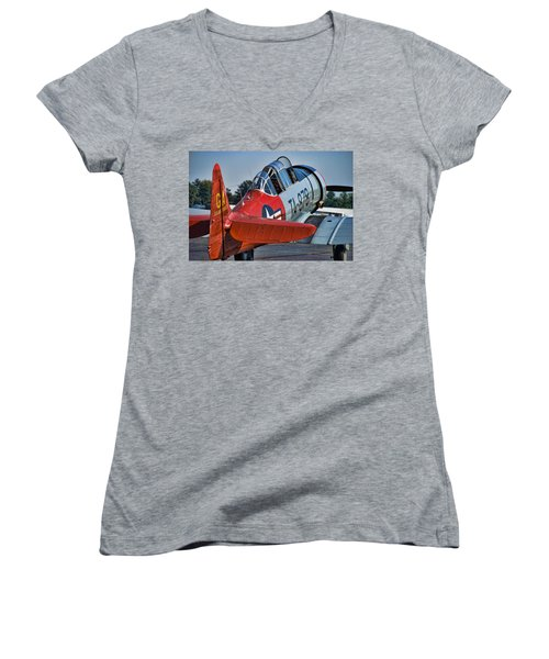 Red At-6 Women's V-Neck T-Shirt