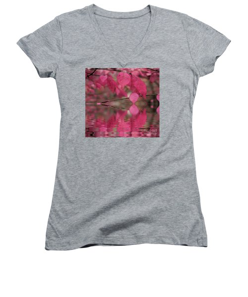 Red Autumn Leaf Reflections Women's V-Neck T-Shirt