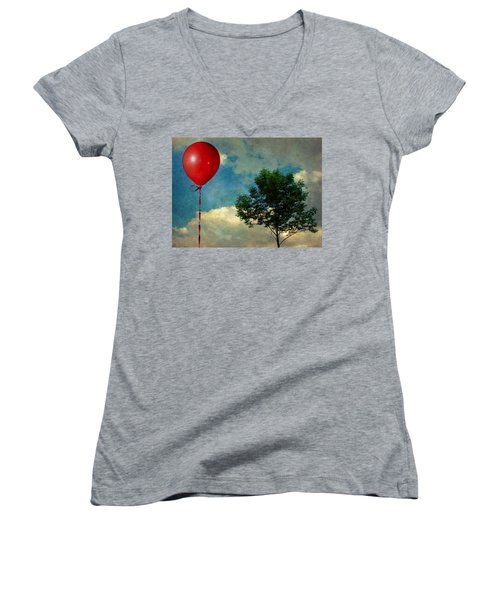 Red Balloon Women's V-Neck (Athletic Fit)
