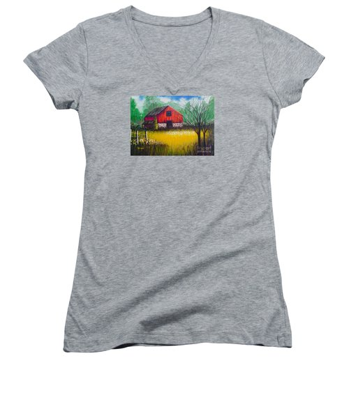 Red Barn  Women's V-Neck T-Shirt (Junior Cut)