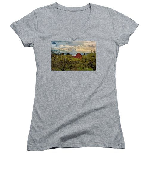Red Barn At Pear Orchard Women's V-Neck (Athletic Fit)