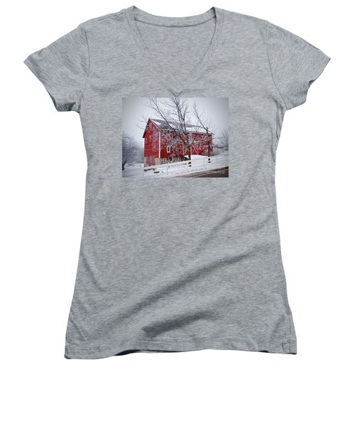 Red Barn Circa 1876 Women's V-Neck T-Shirt (Junior Cut) by Sue Stefanowicz