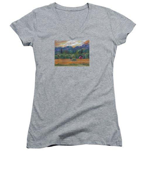 Red Barn Women's V-Neck T-Shirt (Junior Cut) by Clara Sue Beym