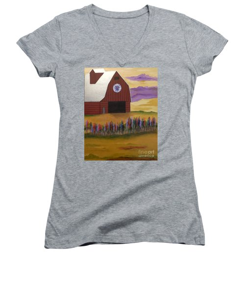 Red Barn Golden Landscape Women's V-Neck (Athletic Fit)