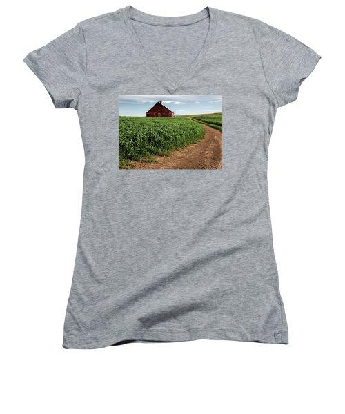 Red Barn In Green Field Women's V-Neck