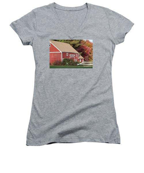 Red Barn Women's V-Neck T-Shirt (Junior Cut) by Jim Gillen