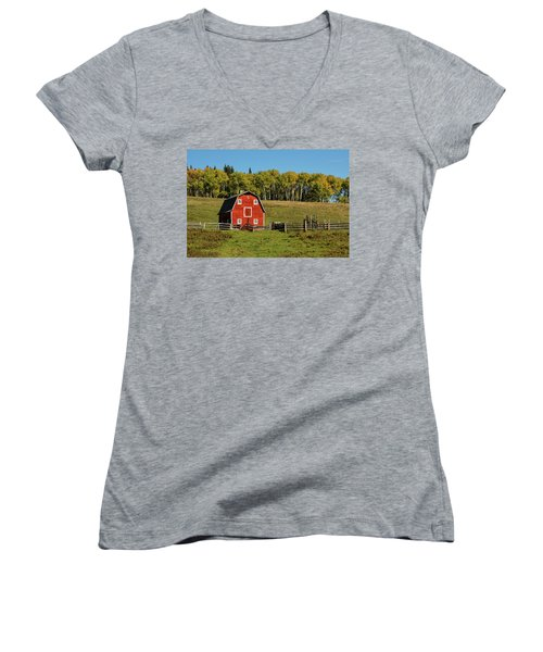 Red Barn On The Hill Women's V-Neck (Athletic Fit)