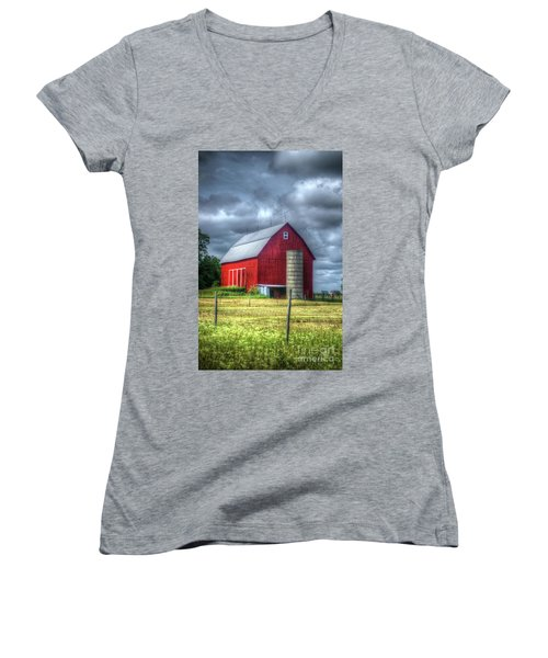 Red Barn Women's V-Neck T-Shirt (Junior Cut) by Randy Pollard