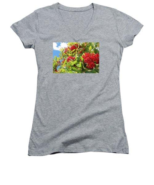 Red Berries, Blue Skies Women's V-Neck