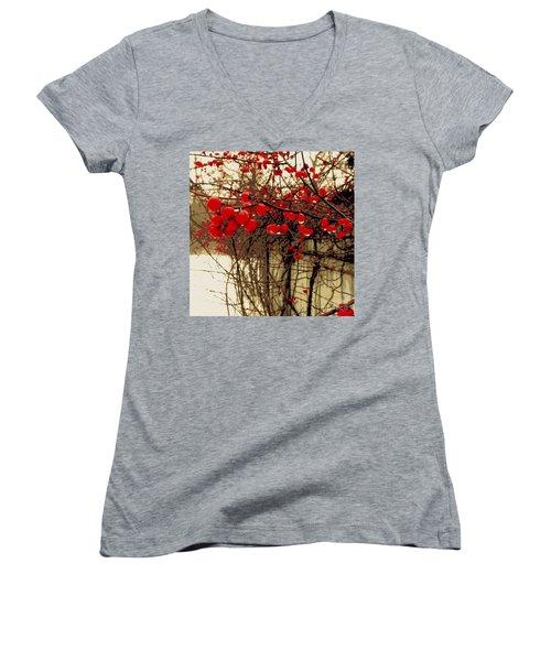 Red Berries In Winter Women's V-Neck T-Shirt (Junior Cut) by Susan Lafleur