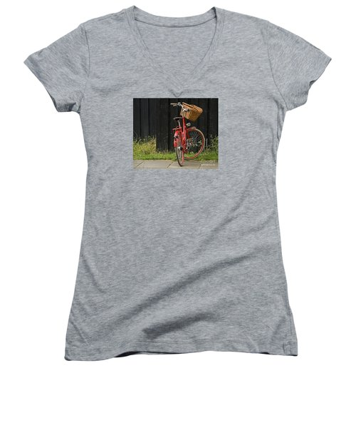 Women's V-Neck T-Shirt (Junior Cut) featuring the photograph Red Bike by Inge Riis McDonald