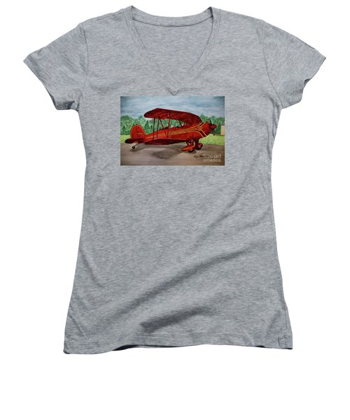 Red Biplane Women's V-Neck T-Shirt (Junior Cut) by Megan Cohen
