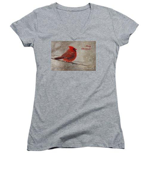 Red Bird In Snow Christmas Card Women's V-Neck