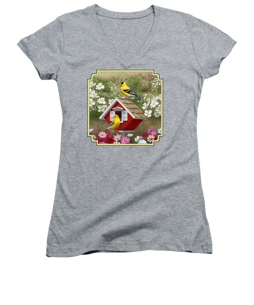 Red Birdhouse And Goldfinches Women's V-Neck T-Shirt (Junior Cut) by Crista Forest