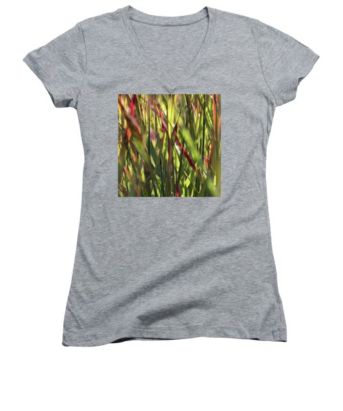 Red Blades Among The Green Women's V-Neck T-Shirt