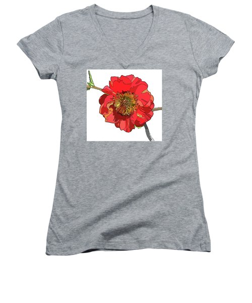 Red Blossom Women's V-Neck T-Shirt (Junior Cut) by Jamie Downs