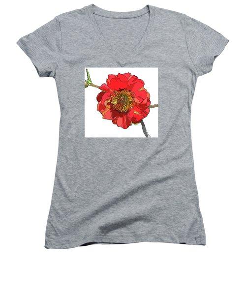 Red Blossom Women's V-Neck T-Shirt