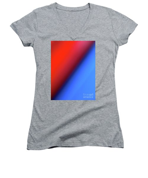 Women's V-Neck T-Shirt (Junior Cut) featuring the photograph Red Blue by CML Brown