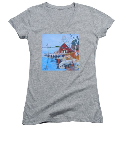 Women's V-Neck T-Shirt (Junior Cut) featuring the painting Red Boat House by Francine Frank