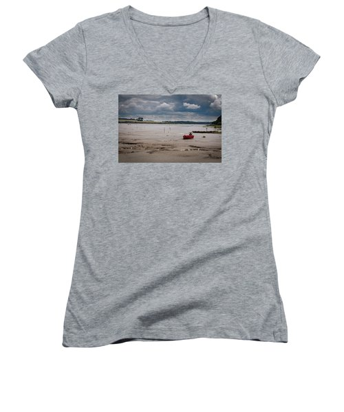 Red Boat On The Mud Women's V-Neck