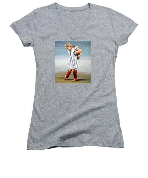 Red Boots Women's V-Neck T-Shirt (Junior Cut) by Natalia Tejera