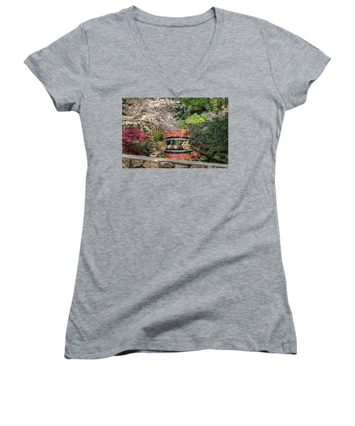 Women's V-Neck T-Shirt featuring the photograph Red Bridge Spring Reflection by James Eddy