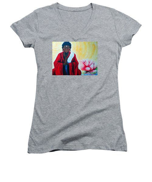 Red Buddha Lotus Women's V-Neck T-Shirt (Junior Cut) by Jackie Carpenter