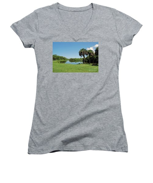 Women's V-Neck T-Shirt featuring the photograph Red Bug Slough by Gary Wonning