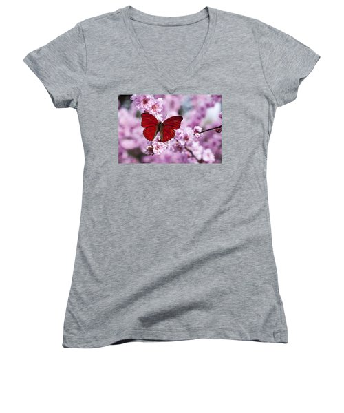 Red Butterfly On Plum  Blossom Branch Women's V-Neck (Athletic Fit)